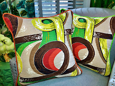 Art Moderne Barkcloth PILLOW Vintage Fabric with 1940's South Beach Vibe Jadeite