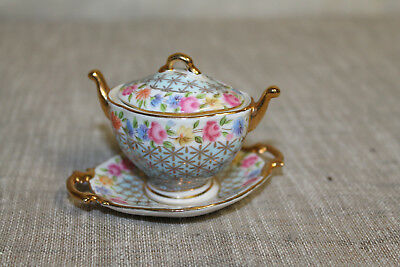 Mini Zuppiera E Piattino Vintage French Porcelan Art Soprammobile Porcellana