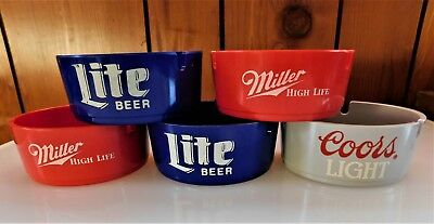 5 Vintage Brookpark Beer Bar Ashtrays MILLER BEER, COORS BEER, LITE BEER