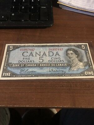 1954 Bank Of Canada Five 5 Dollar Bank Note Xtra Fine Nice Bill