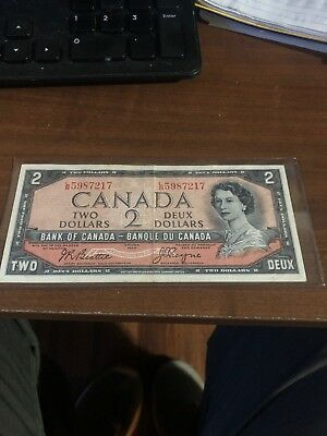 1954 Bank Of Canada Two 2 Dollar Bank Note Extra Fine Nice Bill