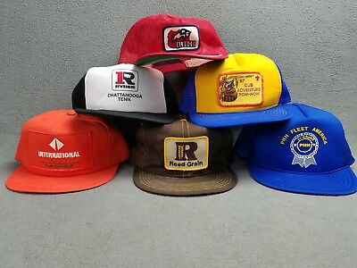 Vintage Hat lot of 1980's 90's Snapback Farm Mesh TRUCKER HATS Caps Made in USA