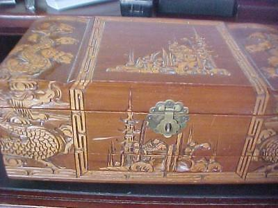 Vintage Asian Oriental Hand Carved Large Wood Jewelry Box Dragon Pagoda