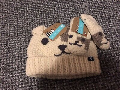 BNWT BABY BOY JOULES BEAR KNITTED HAT AND MITTENS  12-24 months