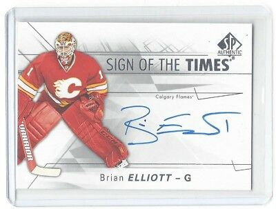 2016-17 Sp Authentic Brian Elliott Sign Of The Times Auto Nhl Calgary Flames