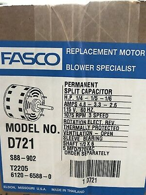 fasco d721 1/41/51/6 hp blower motor reversible 1075 rpm 3