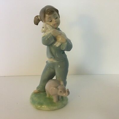 Nao By Lladro Special Friends Figurine ~ Little Girl holding Lamb, Pink Elephant