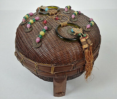 Betty-Lou Collection ANTIQUE Chinese Sewing Basket Footed Dome BEADS Coins cb116