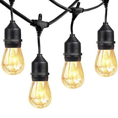 xtf2015 Outdoor Weatherproof Commercial String Lights - 48ft Heavy Duty Cord 18