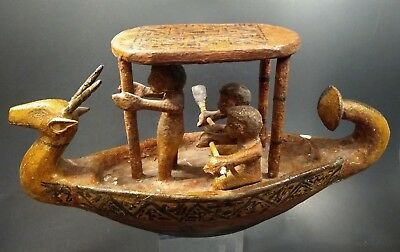 Ancient Style Egyptian Wooden Boat w/Oarsmen - EGYPT - Circa 2030 to 1650 BC