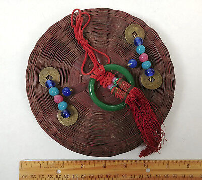 TINY ANTIQUE Chinese Sewing Basket Betty-Lou Collection Coins Beads Tassels 118