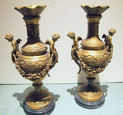 """A Pair Of Fine Louis Xvi Style  Bronze &  Marble Base 4 Cupids .Height=20.5"""""""