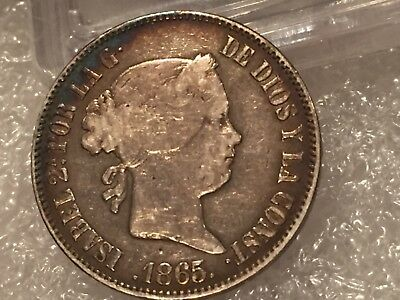 Spain Philippines 1865 Fifty Centavos Very Fine Condition very low mintage