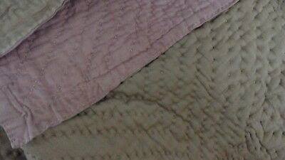Antique hand stitched Welsh Quilt Rose pink / light bronze 86 x 87 inches Heavy