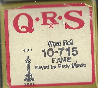 Fame, played by Rudy Martin QRS 10-715 Piano Roll Original 1981