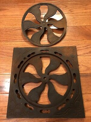 Antique I.A. Sheppard Fan Heat Register Grate Vent Round Furnace Cast Iron 11.5""