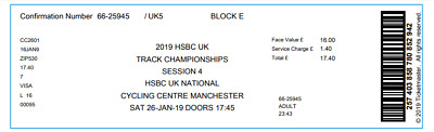 2019 HSBC UK | National CYCLING Track Championships 6:30 pm Two Adult Tickets