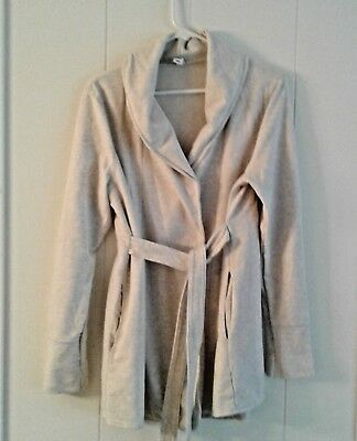 OLD NAVY MATERNITY BLASER JACKET IVORY JERSEY COMFY COWL Long Sleeve Size L
