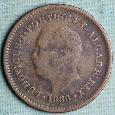 Portuguese India 1886 1/8 Tanga~ Copper~KM# 307