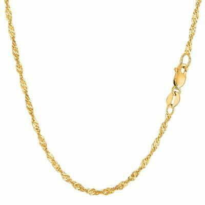 "14K Yellow Gold Diamond Cut Singapore Chain Necklace 16"" 18"" 20"" 22"" 24"""