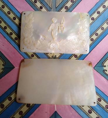 Lovely Georgian Regency 18th 19th C. Needle Book Case Covers Carved MOP Cupid