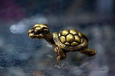 Rare Collectible Old Antique Brass Handwork Longevity God Turtle Chinese Statue