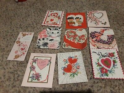 Vintage Valentine Greeting Cards Pre Owned Lot Of 10