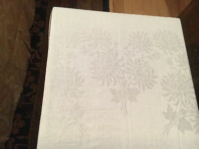 Vintage Damask White Tablecloth 72X106 in. with 11 Jumbo Napkins 22x22 in.