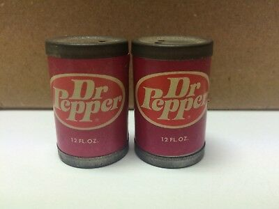 "Vintage Dr Pepper Miniature Soda Cans Salt & Pepper Shakers 1"" Tall"
