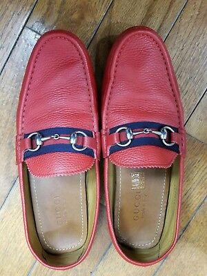 72e820e4488 Authentic Gucci Red Horsebit Grained Leather Driving Loafers Sz 10.5