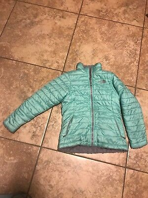 The North Face Girls Kids Reversible Moss Bud Jacket Teal And Gray MEDIUM 10-12