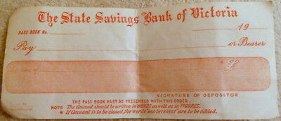 STATE SAVINGS BANK OF VICTORIA 1940's WITHDRAWAL SLIP - NOT FILLED IN