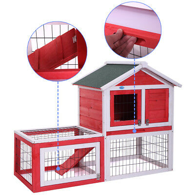 2-Story Pet Rabbit Bunny Hutch With Run Wooden Sleeping Play