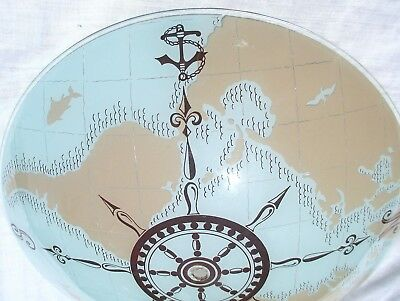 """Antique Vintage Maritime Nautical Glass Dome - Reverse World Sceen - 15"""" LG NR !"""