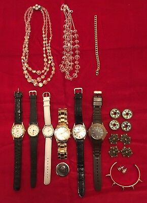 Job Lot Of Watches And Costume Jewellery Spares Repair Parts Vintage