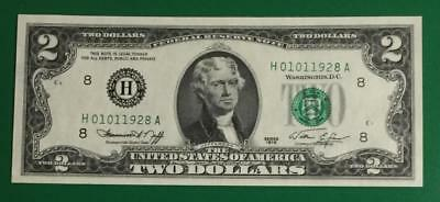 1976 $2 Choice Crisp Uncirculated Fancy SErial Number Birthday NOte! 01-01-1928!