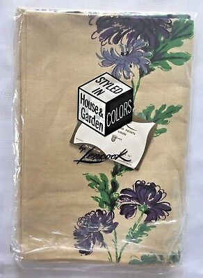 "Vintage Leacock Tablecloth 52"" X 70"" Purple Chrysanthemum  100% Linen Unused NOS"