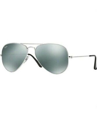 RAY BAN RB 3025 W3277 SILVER GREY MIRROR AVIATOR SUNGLASSES 58 mm MEDIUM 64c089ca7023