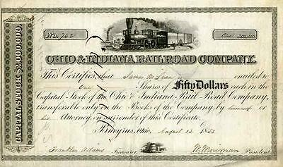 1853 Ohio & Indiana RR Stock Certificate