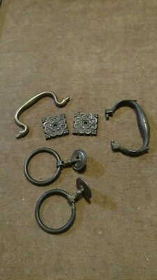 Vintage Mixed Lot Of Brass Cabinet / Furniture Hardware Parts For Repurpose