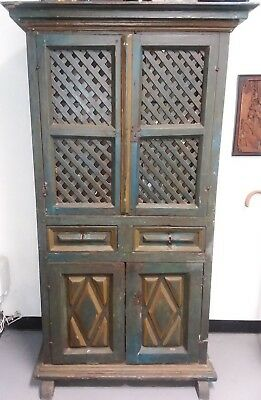 18th century Spanish painted pine cabinet Pyrenees region