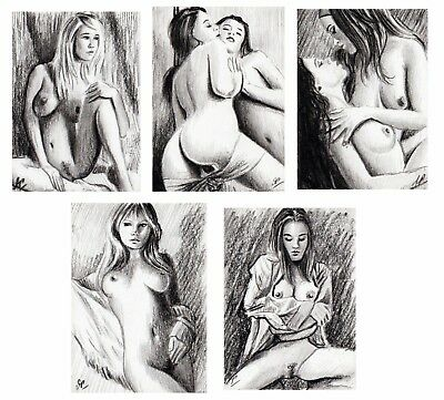 ACEO collection - 5 sketch cards - Pencil & charcoal - Nude female