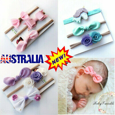 3X Headband Baby Girl Toddler Newborn Small Flower Nylon Hair Band Accessory VW