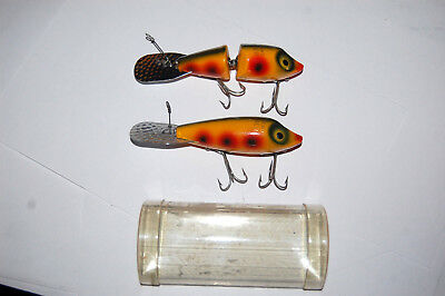 Vintage Pair of Wooden South Bend Explorer Lures, One is Jointed