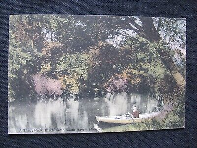 Shady Nook Black River South Haven Michigan-1910 vintage postcard- lady in boat