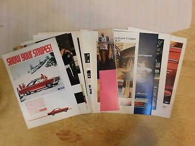 Lot of 17 1967 Ford Print Ads Mercury Cougar Mustang T-bird Fairlane more