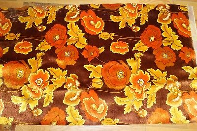 VINTAGE 1970s MOD RETRO BRIGHT ORANGE FLORAL UPOLSTERY FABRIC 5 YARDS