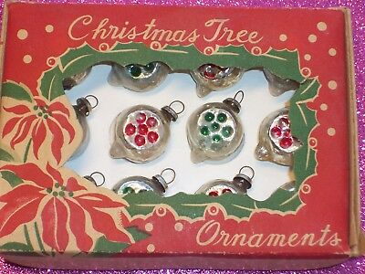 12 Vintage Japan Miniature Indent Pointy Dice Shapes Feather Tree Ornaments