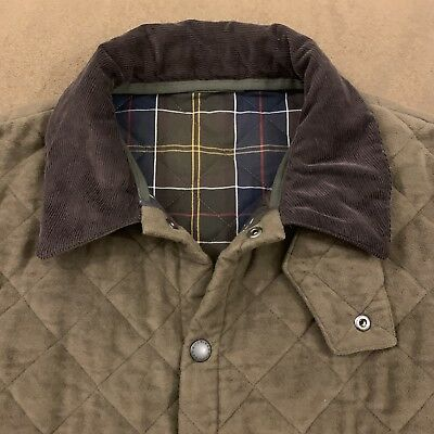 Mens BARBOUR Brown Quilted Lined Liddesdale Moleskin Barn Field Jacket XL