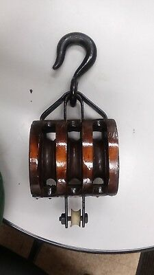 Antique Vintage Cast Iron Wood Anvil Barn Pulley Block and Tackle Triple Pulley
